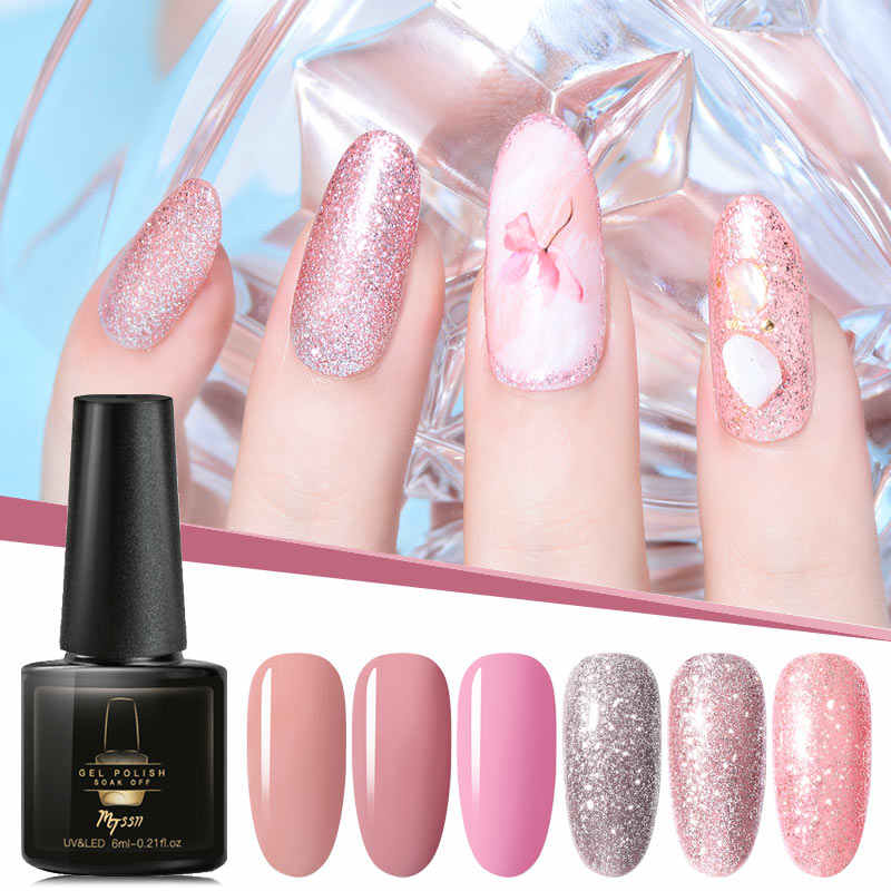 Mtssii 6 Ml Uv Gel Nail Polish Rose Emas Glitter Payet Gel Lak Warna Profesional Gel Varnish Rendam Off UV seni Kuku Gel
