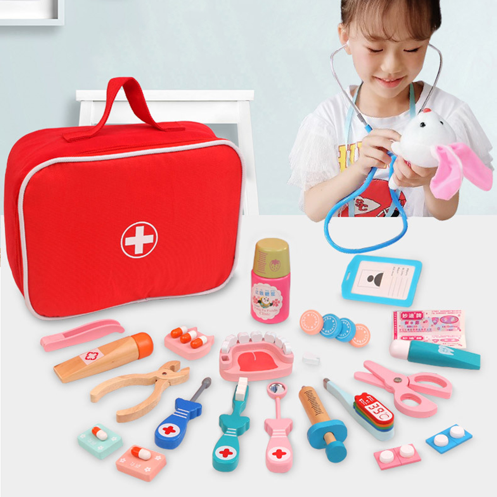 Wooden Pretend Play Doctor Educationa Toys Children Medical Simulation Medicine Chest Set for Kids Interest Development