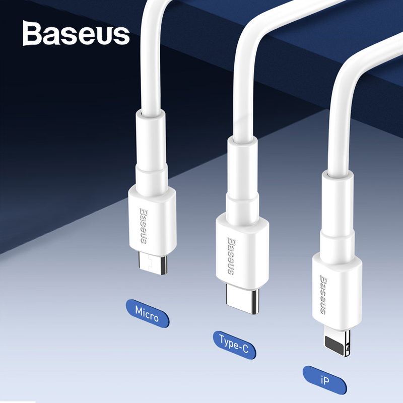 Baseus 3A Fast Charge USB Cable For iPhone Micro Type C Devices Data Cable Quick Charging Cable Wire For Huawei Xiaomi Samsung-in Mobile Phone Cables from Cellphones & Telecommunications on AliExpress