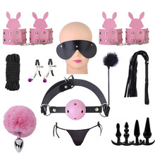 sex toys for woman Rabbit anal plug Handcuffs Nipple clip Eye mask Couple flirting toy set bdsm slave bondage Adult supply store