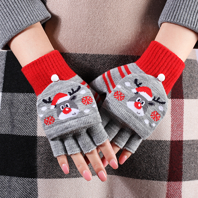 2019 Half Finger Women Gloves Winter Christmas Elk Snowman Printed Knitted Gloves Warm Fingerless Wrist Mittens Female Gloves