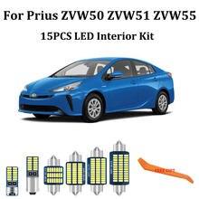 Kit d'éclairage intérieur de voiture, 15 pièces, Canbus led blanc, pour Toyota Prius 50 ZVW50 ZVW51 ZVW55, dôme, porte, coffre, 2016 – 2020