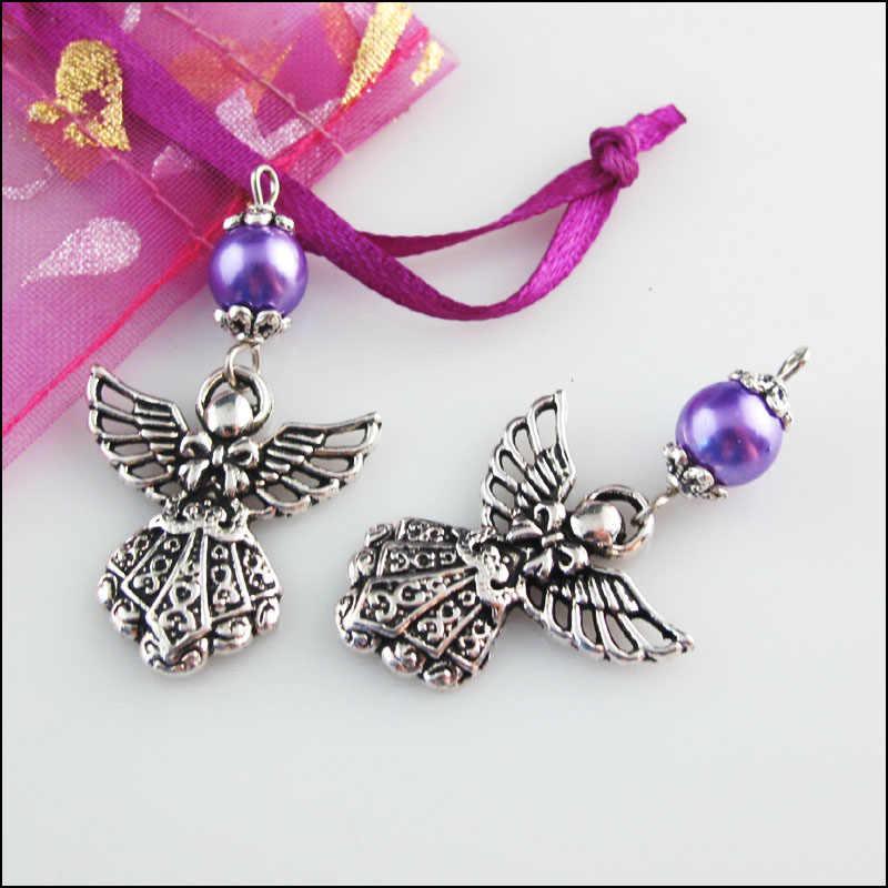 אופנה 4Pcs טיבטי כסף טון סגול זכוכית עגול חרוזים תליוני קסמי מלאך