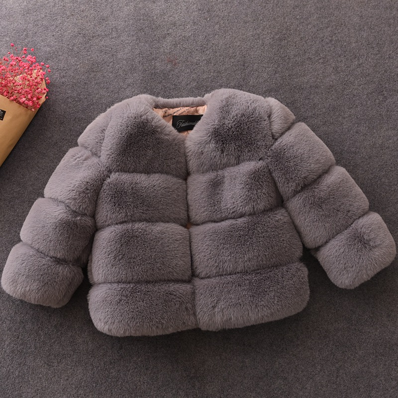 New Girls Winter Fur Coat Elegant Teenage Girl Faux Fur Jackets Thick Coats Warm   Parkas   Children Outerwear 1-10Yrs Girls Clothes