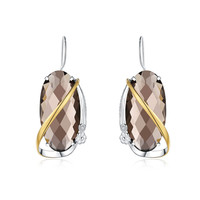 925 Sterling Silver Gemstone Smoky Quartz Drop Earrings Handmade Craft Designer Trendy Vintage Earring Fine Jewelry Women Party
