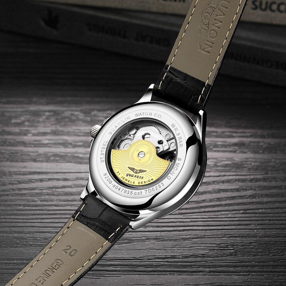 H5a85481b4f644f93bda9ac949296d44eM GUANQIN 2019 automatic watch clock men waterproof stainless steel mechanical top brand luxury skeleton watch relogio masculino