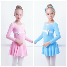 Pink Lavender Hot Blue Girls Ballet Dance Dress Long Sleeve Cotton Gymnastics Leotard Swimsuit Bodysuit For Dancing