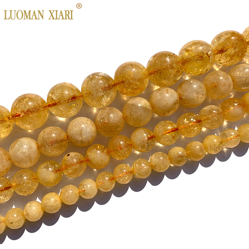 Fine AAA+ 100% Natural Citrine Round Stone Beads Yellow Crystal Topaz For Jewelry Making DIY Bracelet Necklace 6/8/10/12mm