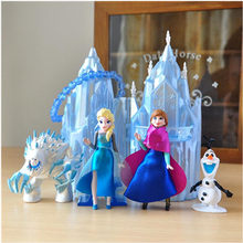 Disney mrożone nowe zabawki 6 sztuk/partia 6-16cm pcv Anna Elsa księżniczka Olaf Sven Kristoff i zamek Ice Palace tron figurka Doll