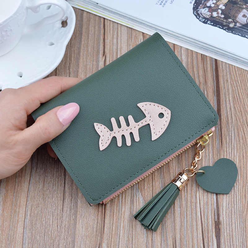 2019 yeni cüzdan bayanlar kısa moda kılçık tasarımcı kadın cüzdan kore saçaklı fermuar kız öğrenci PU malzeme sıfır çanta