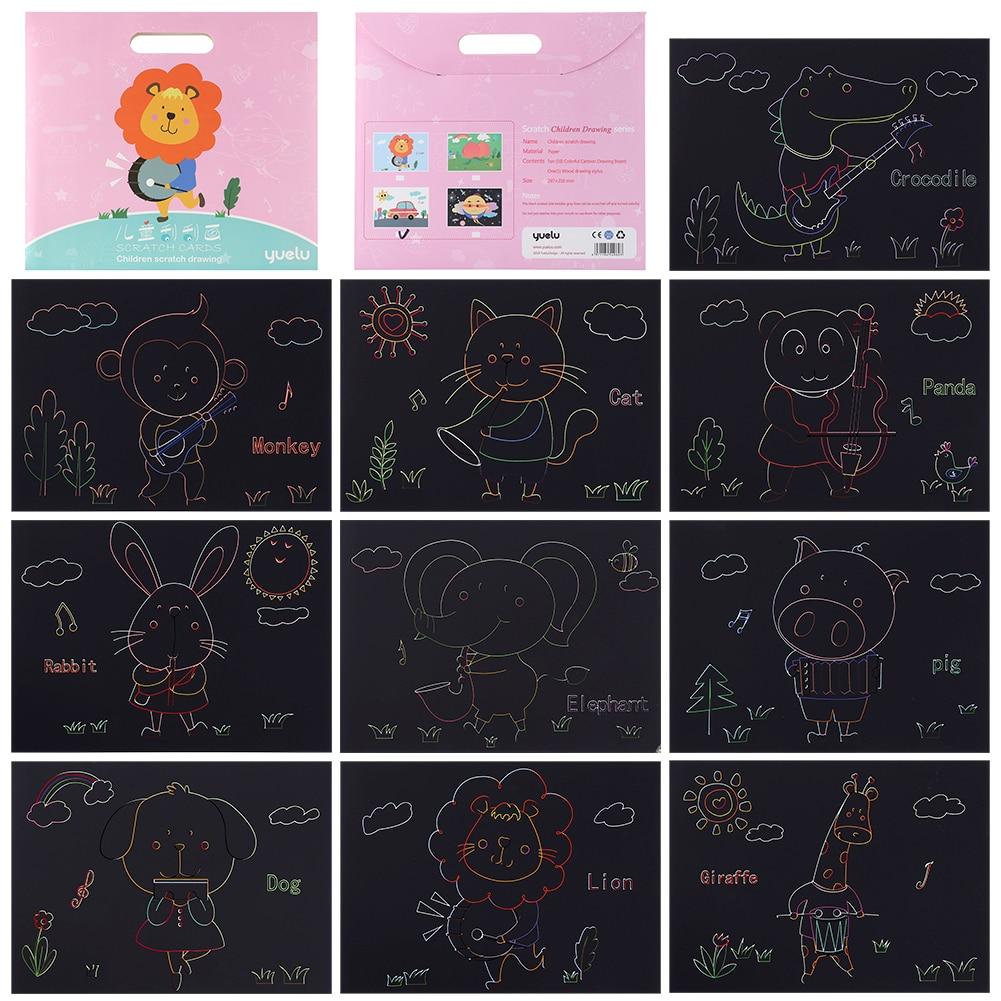 10 шт. DIY серии животных искусство каракули скребковая живопись головоломка игрушки для рисования DIY игрушки для рисования скребковая живопись