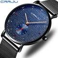 Reloj hombre crrju dos homens relógios de luxo marca superior relógio esporte à prova dwaterproof água quartzo relógio de pulso ultra fino relogio masculino