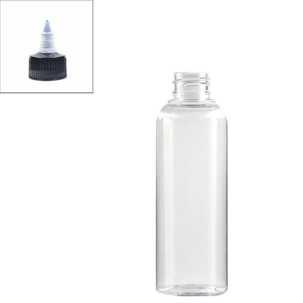 200ml Empty Plastic Bottle, Clear Pet Bottle With Black Twist Top Caps Pointed Mouth Top Lid