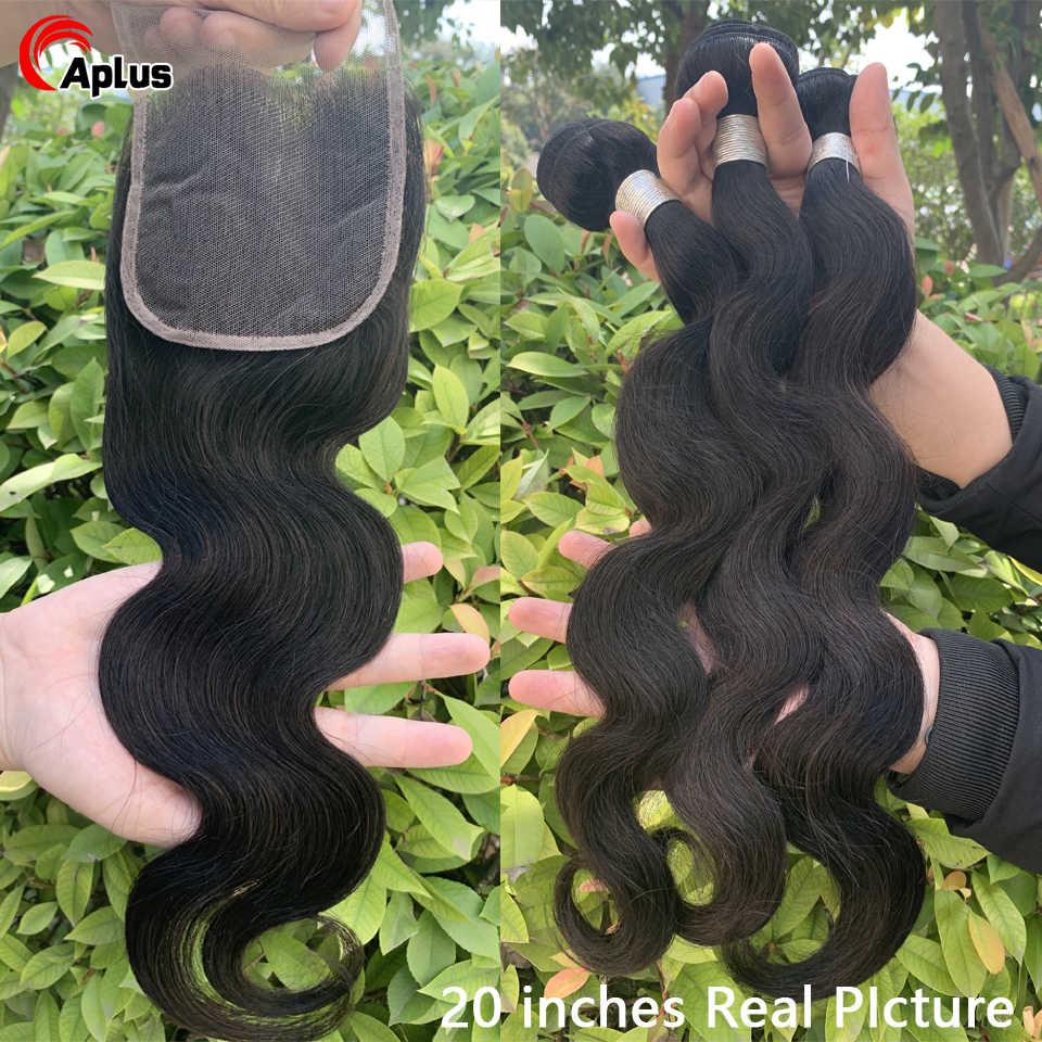 Cuerpo onda transparente Cierre de encaje brasileño 3 mechones de pelo con cierre de encaje parte libre 100% manojo de extensiones de cabello humano