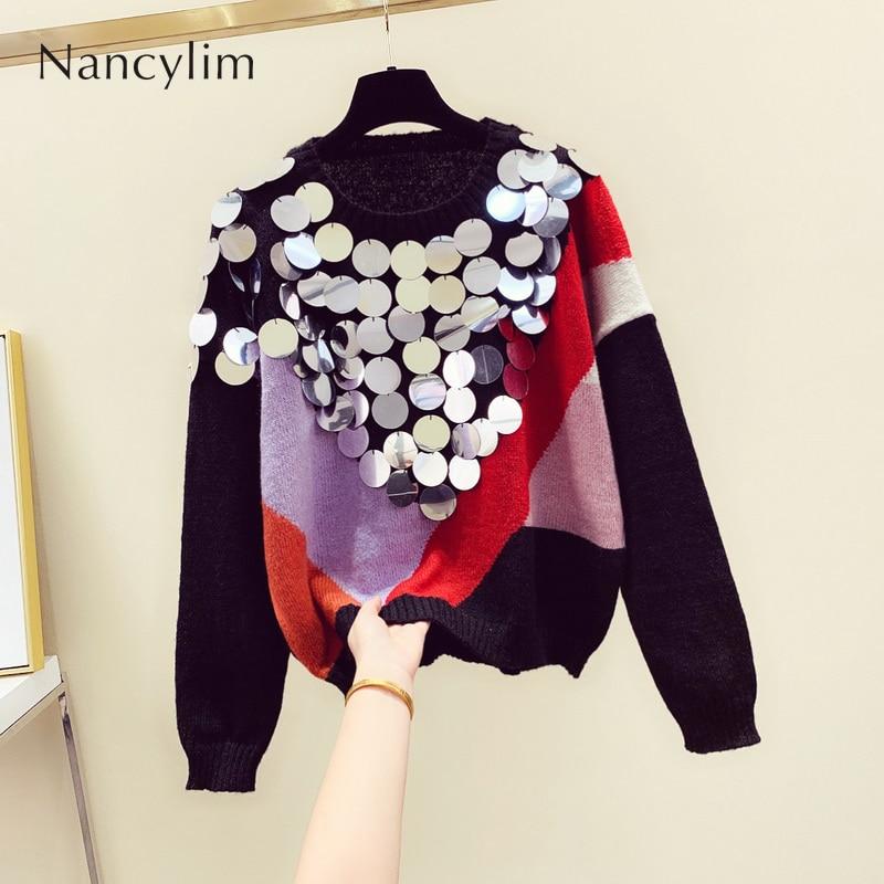 Winter Big Sequins Sweater Woman 2019 New Korean Pull Head Color Rainbow Sequin Sweater Loose Jumper Girls Lady Streetwear