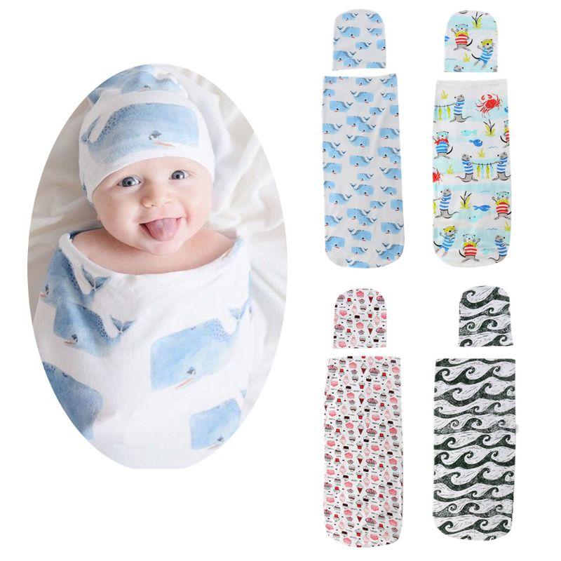 Newborn Baby Sleeping Bag Hat Set Cartoon Printing Child Infants Wrap Swaddle Head Cap Shower Gifts