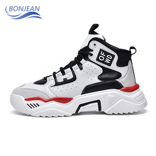 BONJEAN Retro High-top Skateboarding Shoes Chunky Platform Walking Hot Trend Comfortable Outdoor Jogging Athletic Sneakers