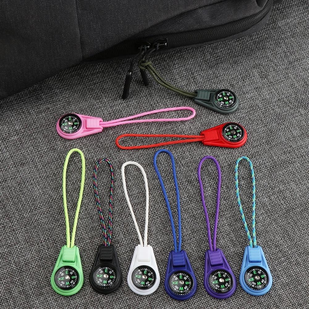 Pocket Compasses Zipper Tail Rope Mini Survival Compass EDC Outdoor Tools