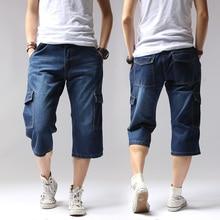 2020 الصيف الدنيم جان الرجال السراويل غير رسمية الصلبة فضفاض السراويل البضائع الركبة طول قصيرة متعددة جيب برمودا الذكور طويلة كبيرة طويل القامة حجم