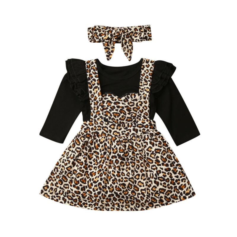 3Pcs Set Newborn Baby Girl Long Sleeve Heart Bodysuit Tops Leopard Suspender Skirt Headband Outfits Baby Clothes