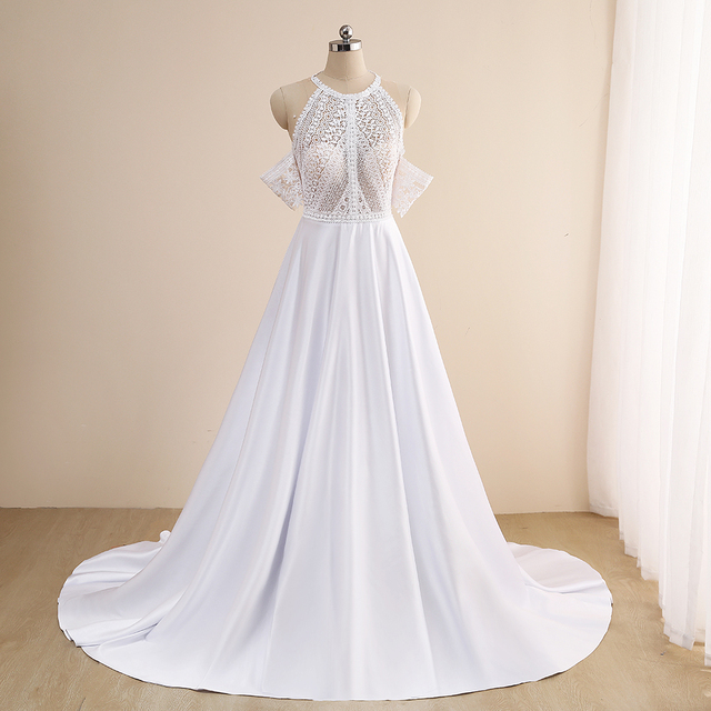 Simple A-Line Wedding Dresses Sexy Illusion O Neck Off Shoulder Button Cut-Out Lace Appliqued New 2021 Long Bridal Gowns Custom 4
