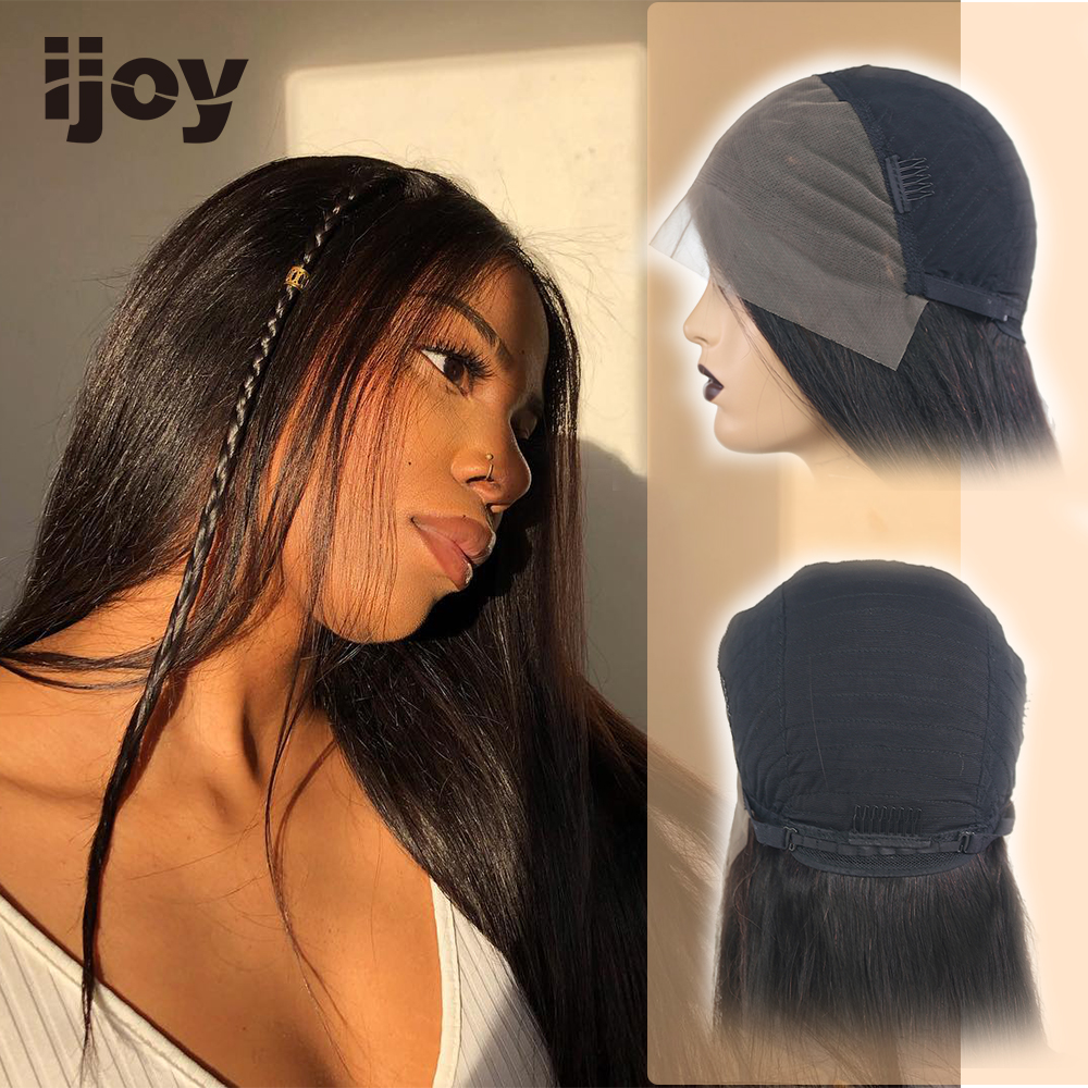 "Straight Human Hair Wigs 4x13 Lace Front Classic Wig Brazilian Hair Non-Remy Wigs Natural Black 16""-26"" Real Length Wig IJOY"