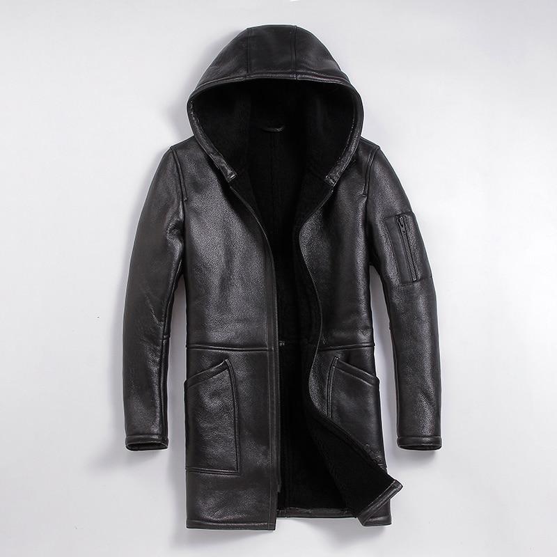 Free Shipping,Winter Sheep Fur Coat,long 100% Shearling,man's Warm Leather Jacket,men's Sheepskin Plus Size Wool Long Jackets.