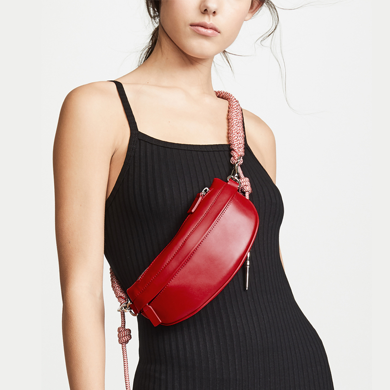 Women Chest Bags Fashion Weaving Belt Leather Messenger Bag Casual Shoulder Bag Female Zipper Phone  Phouch Female Waist Bag