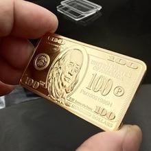 США 100 доллара в слитках 24k Золотые прутки Американский металлические монеты золотые слитки USD
