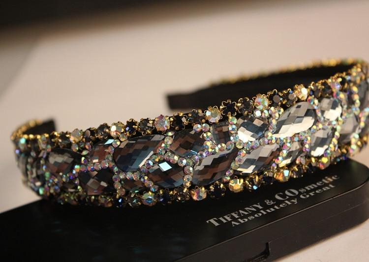 de luxo cristal diamante ampla face headbands