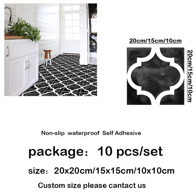 10pcs diy black grey decor floor tile stickers wall sticker removable waterpoof floor sticker wall art livingroom 10 15 20 30cm