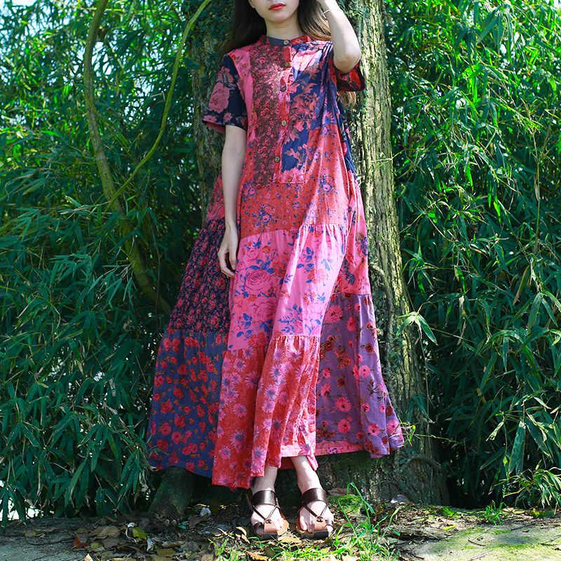 Delle donne Del Cotone di Estate di Modo Casuale Rappezzatura Della Boemia del Vestito Delle Signore Vintage Stampato Manica Corta Abiti Femminili 2020 di Estate del Vestito