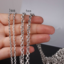 Men Women Jewelry 2-5 mm 16-36 Inches Links Chain Fashion Necklace Stainless Steel Classic Pop Rolo Chains