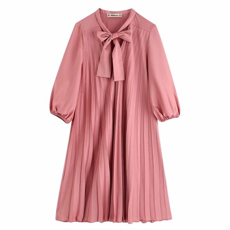 2019 New Women Elegant V Neck Solid Color Pleated Dress Office Lady Bow Tied Casual Vestidos Chic Autumn Kimono Dresses DS2929