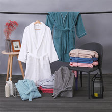 Lovers Summer Terry Breathable Robe Pure Cotton Unisex Bathrobe Men Suck Water Bathrobe Women Solid Towel Long Robe Sleepwear(China)