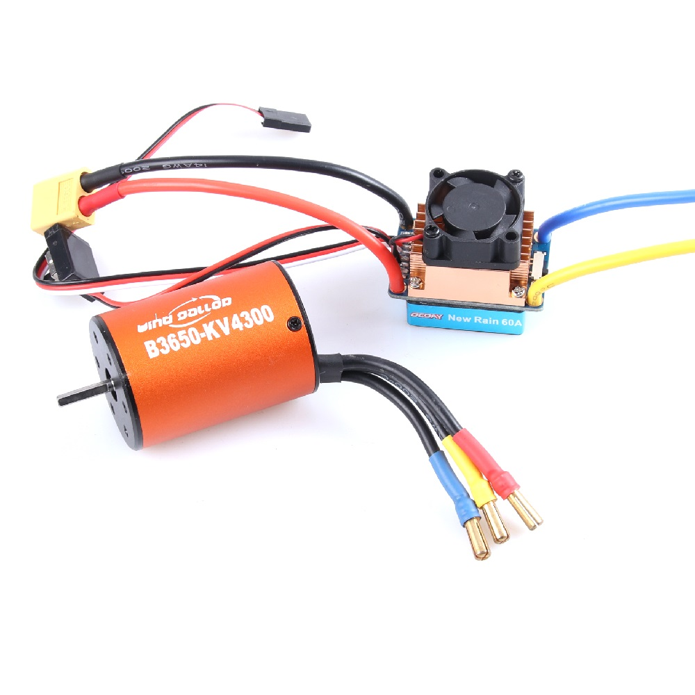 OCDAY 5-13V 320A Waterproof 3S 60A Brushed Motor ESC Electronic Speed Controller And B3650 3900KV 4300KV Motor For 1/10 RC Car