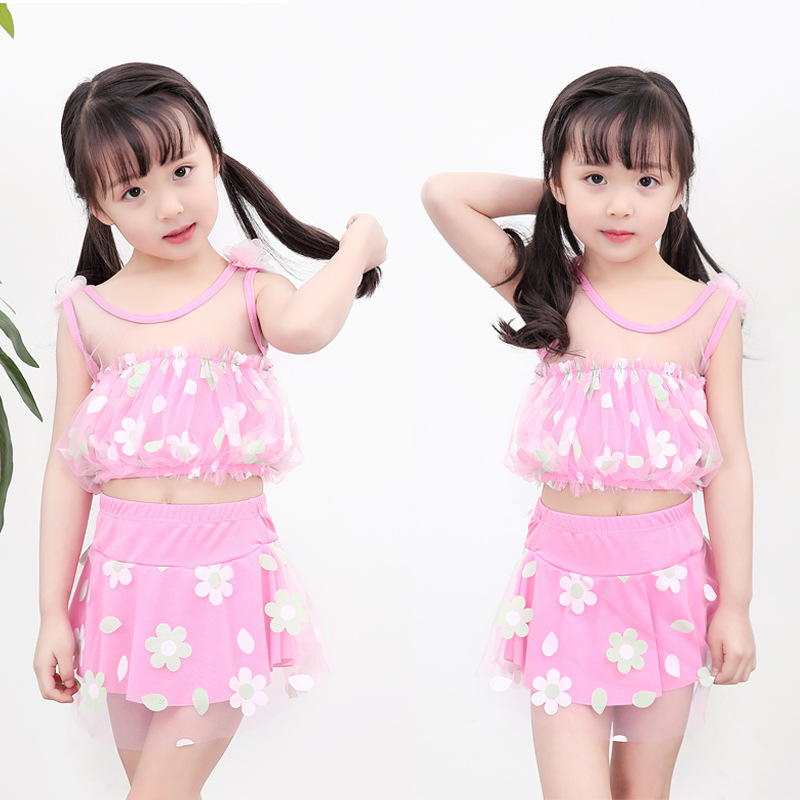 [Special Offer Closeout] Children Little Girl Tour Bathing Suit Princess Baby One-piece Skirt Bathing Suit 2-5-10-Year-Old