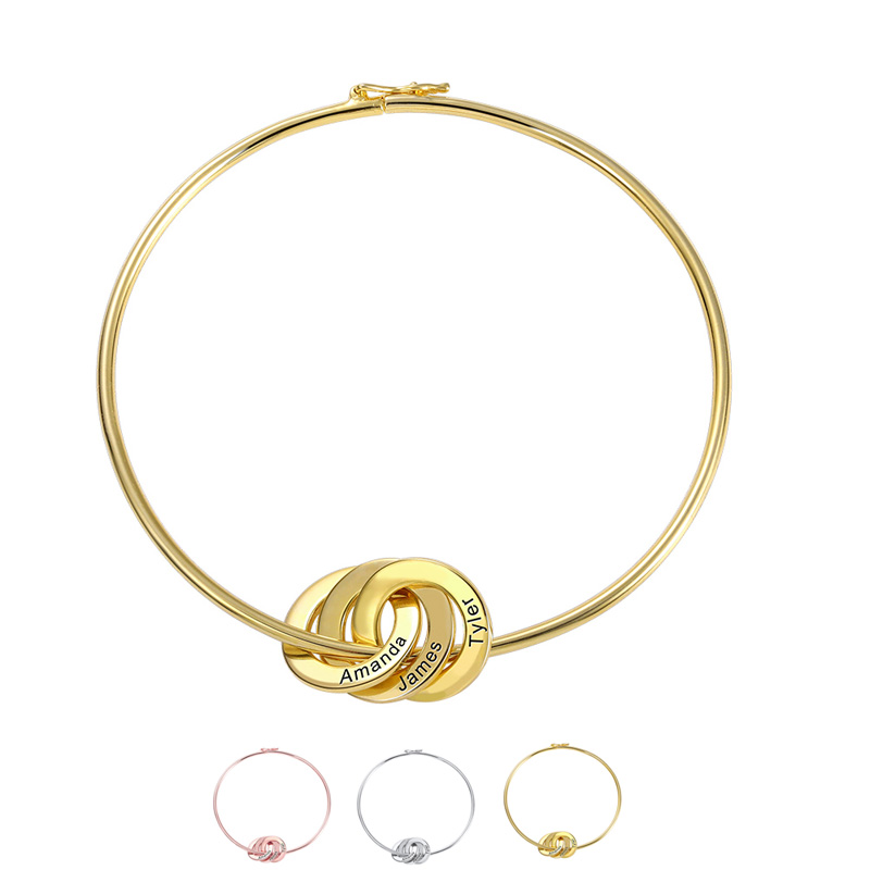 Engraved Name Custom Bangle Personalized Jewelry Mother Gift Gold Color For Women Girlfriend Christmas Birthday Bangle Accessory