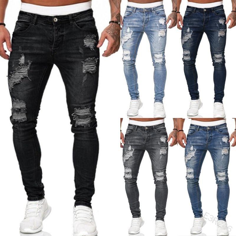 WEPBEL Skinny Trousers Men's Jeans Pants Casual Summer Autumn Male Ripped Slim Biker Sweatpants Sexy Hole Outwears Pants