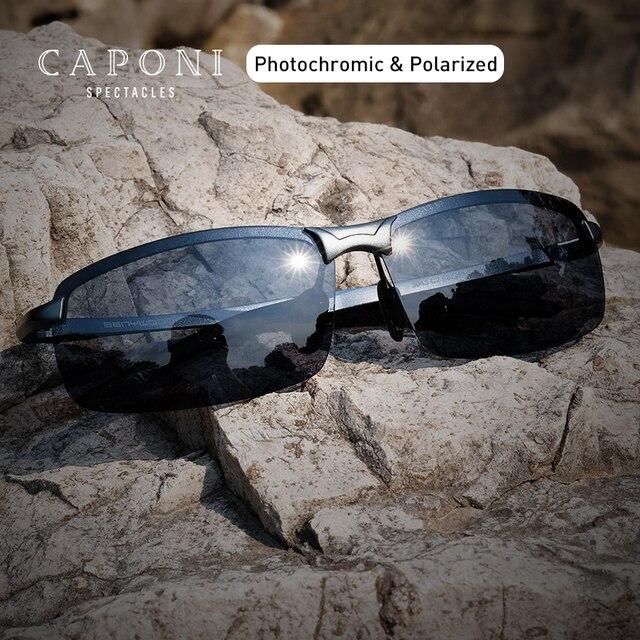 CAPONI Ultraleicht Sport Sonnenbrille Männer Polarisierte Vintage Photochrome Brillen Mode Marke Designer Sonnenbrille UV400 BS3043