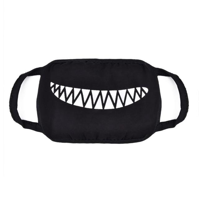 9pcs/set Black Face Masks Cartoon Anime Kpop Mask Women Men Kids Face Mouth Masks Washable Cotton Mask 1