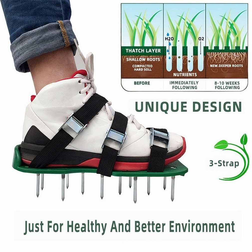 Espigões do gramado sapatos de aerador do gramado unhas jardim ferramentas de jardim soltos sapatos solo ripper portátil durável conveniente