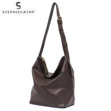 Shoulder-Bag Crossbody-Handbag Travel-Bag SC Hobo Vintage Large Real-Leather Solid-Color
