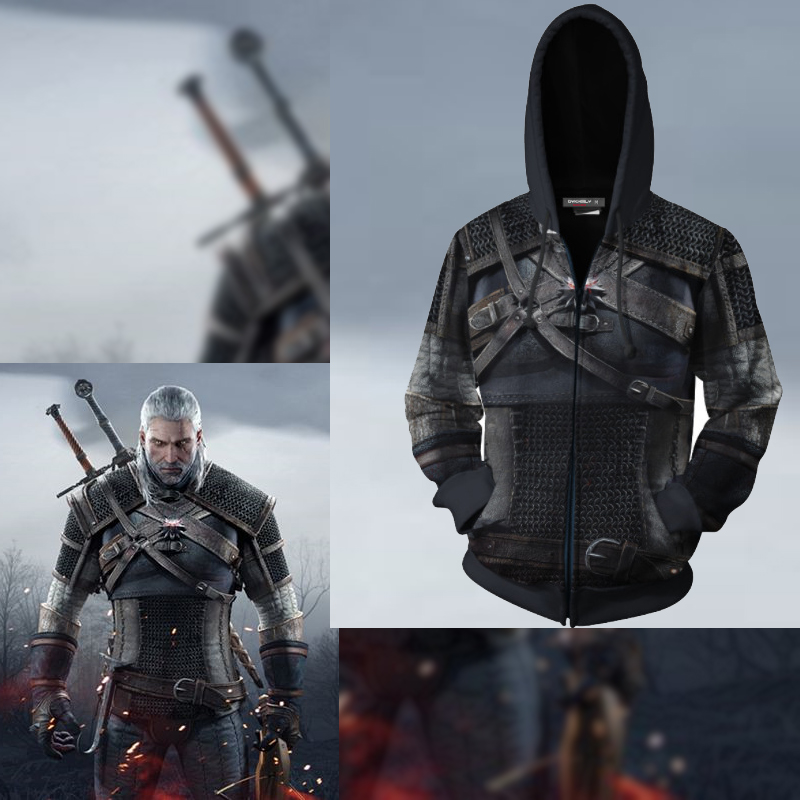 Classic Game Witcher 3 Series 3D Sweater Copplay Anime Peripheral 3D Sweater Hoodie Adult Costume Cosplay Halloween Costumes