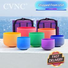 """CVNC 6 """" 12"""" zestaw 7 szt. Czakry matowy kryształ kwarcowy misa dźwiękowa zawiera 2 szt. Torby do noszenia"""