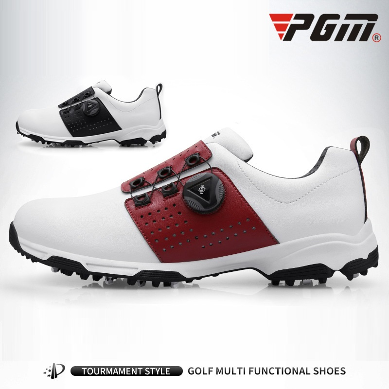 Image 3 - Pgm Golf Shoes Men Leather Waterproof Sneakers Anti slip  Automatic Shoelace Soft Comfort Breathable Sport Golf Training  ShoesGolf Shoe