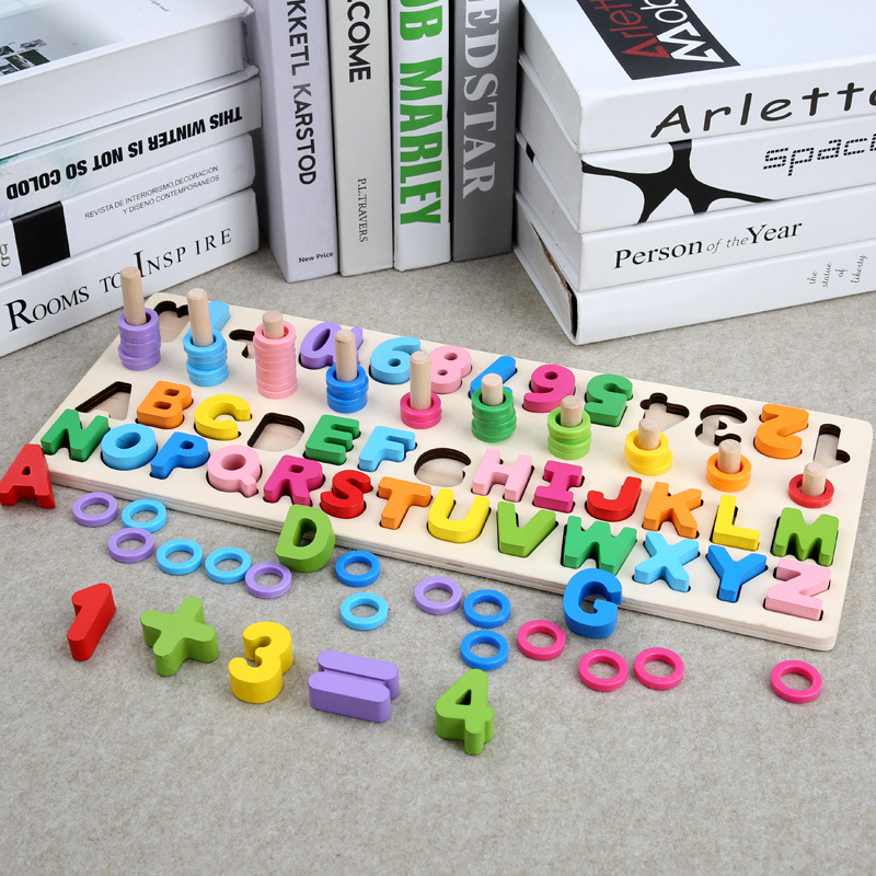 Hot Sale Baby Toys Colorful Assembly Wooden Blocks Toy Baby/Infant/Toddler Graphic Cognition Early Educational Toys For Children