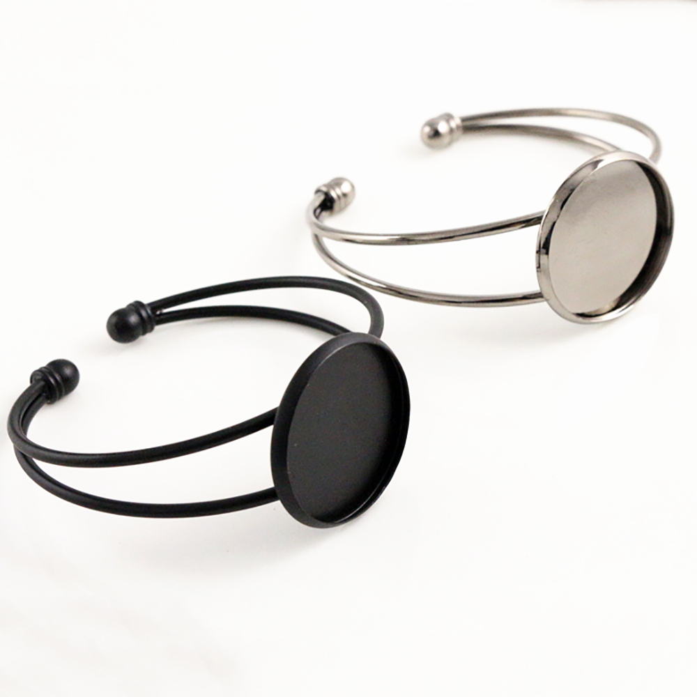 High Quality  25mm Black And Gun Black Plated Bangle Base Bracelet Blank Findings Tray Bezel Setting Cabochon Cameo