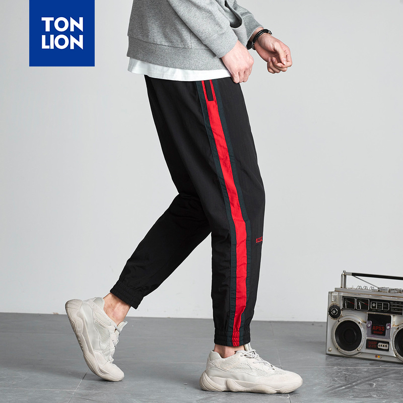 TONLION Panelled Patchwork Pants Men Fashion Red Black Side Stripe Pencil Pants Long for Men Preppy Style Casual Sporting Pant
