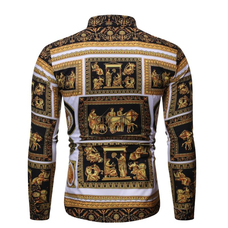 New Fashion Mens Baroque Floral Royal Shirts Luxury Brand Print Designer Dress Shirts Fancy Slim Casual Club Style 3